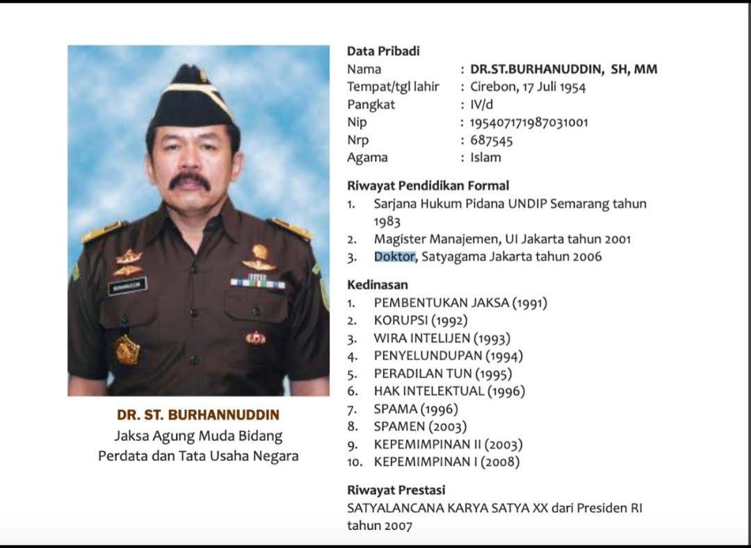 Riwayat pendidikan Jaksa Agung ST Burhanuddin yang diklarifikasi Kejagung