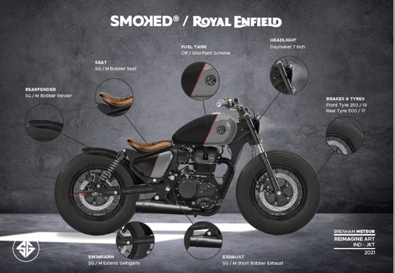 Sketsa modifikasi Royal Enfield Meteor 350 ala Bobber oleh Nicko Eigert (Smoked Garage)