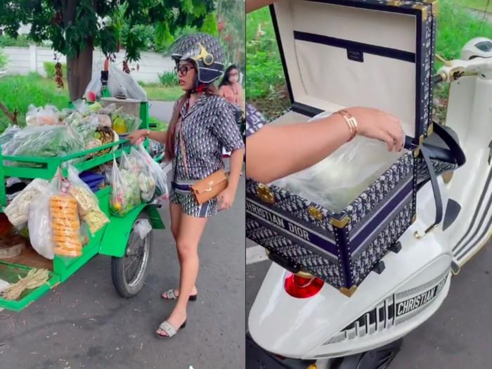 Wanita Pakai Vespa Dior Rp 1,35 M saat Beli Tempe Ini Curi Perhatian