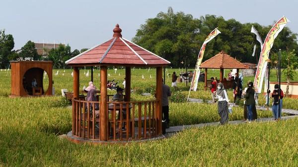 Pemkot Madiun membangun objek wisata dan lapak Usaha Mikro Kecil Menengah (UMKM) di areal persawahan tersebut untuk menarik wisatawan serta menumbuhkan perekonomian bagi warga setempat. ANTARA FOTO/Siswowidodo.