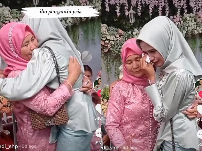 Viral wanita yang datang ke nikahan mantan pacar. Foto: Dok. Tangkap layar akun TikTok @edi_sph.