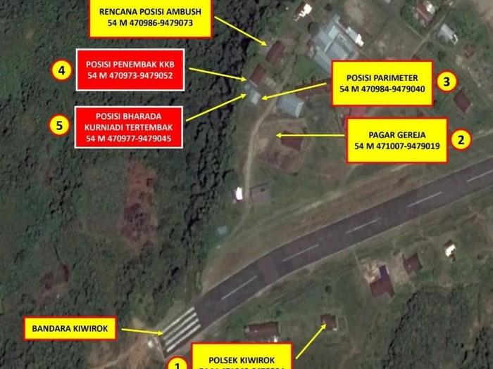 Peta lokasi penembakan oleh KKB hingga membuat seorang anggota brimbo gugur (Dok Satgas Nemangkawi)