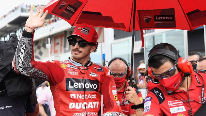 MISANO ADRIATICO, ITALY - SEPTEMBER 19:  Francesco Bagnaia of Italy and Ducati Lenovo Team  prepares to start on the grid during the MotoGP race during the MotoGP Of San Marino - Race at Misano World Circuit on September 19, 2021 in Misano Adriatico, Italy. (Photo by Mirco Lazzari gp/Getty Images)