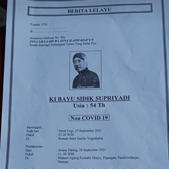 Ki Bayu Sugati meninggal dunia