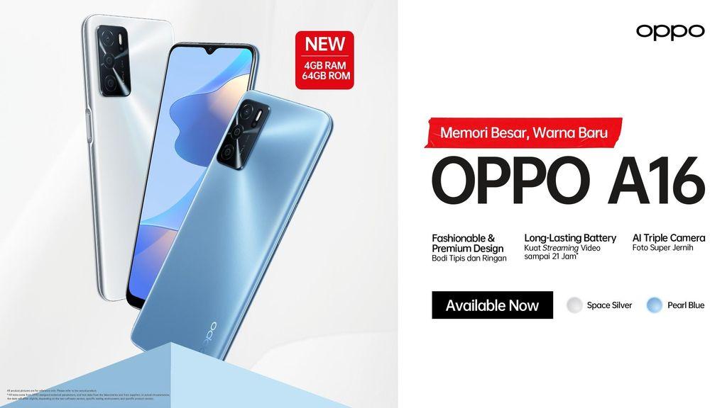 Rajai Pasar Entry Level, OPPO Luncurkan Varian A16 4/64 GB Pearl Blue