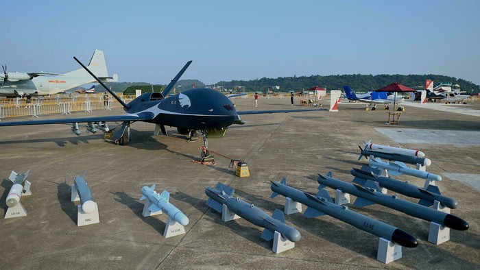 China showcased its new air power at Zhuhai, with a range of drones on display including the WL-10 (Noel Celis/AFP)