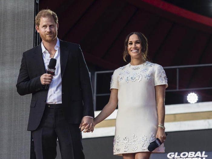 Prince Harry and Meghan Markle, Duke and Duchess of Sussex, speak during the Global Citizen festival, Saturday, Sept. 25, 2021, in New York. (AP Photo/Stefan Jeremiah)