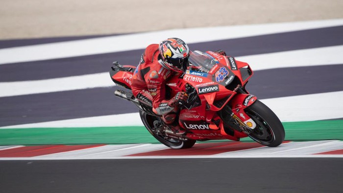 MISANO ADRIATICO, ITALY - SEPTEMBER 18: Jack Miller of Australia and Ducati Lenovo Team heads down a straight during the qualifying practice during the MotoGP Of San Marino - Qualifying at Misano World Circuit on September 18, 2021 in Misano Adriatico, Italy. (Photo by Mirco Lazzari gp/Getty Images)