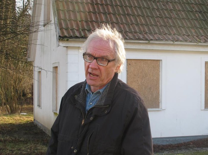 FILE - Swedish artist Lars Vilks speaks during an interview with The Associated Press in Malmo, Sweden, Wednesday March 4, 2015. Vilks, who had lived under police protection since his 2007 sketch of the Prophet Muhammad with a dog's body brought death threats, died from a traffic accident Sunday, Oct. 3, 2021 Swedish news media reported. (AP Photo/David Keyton)