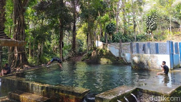 Gemercik air pun terdengar sekali dari pinggir kolam. Jika pada akhir pekan, pengunjung yang datang ramai sekali. Untuk itu, jika ingin menikmati segarnya di pemandian ini, lebih baik datangnya di hari biasa. (Eko Susanto/detikTravel)