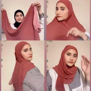 Tutotial hijab segi empat instan.