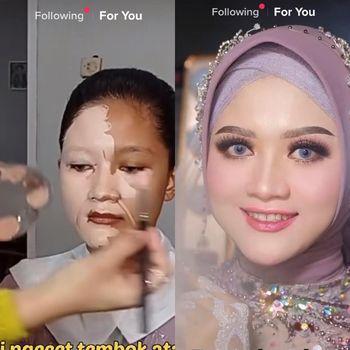 Viral perubahan makeup wanita yang bikin pangling.