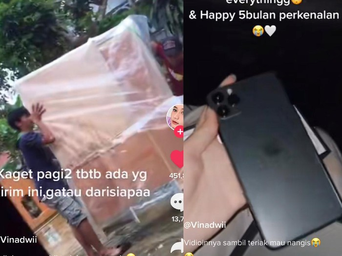 5 bulan pacaran, wanita viral ini dapat kado meja rias dan Iphone dari pacarnya.