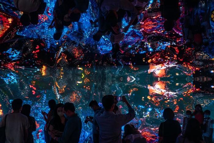 HONG KONG, CHINA - OCTOBER 04: Visitors experience an immersive art installation titled