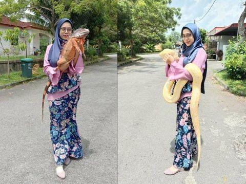 Kisah viral wanita yang memelihara ular dan biawak.