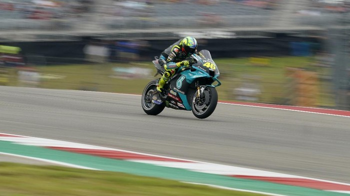 Valentino Rossi (46), of Italy, speeds out of turn one during an open practice session for the MotoGP Grand Prix of the Americas race at the Circuit of the Americas, Saturday, Oct. 2, 2021, in Austin, Texas. (AP Photo/Eric Gay)