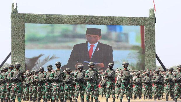 Upacara penetapan pasukan Komcad (Dok. Tim Dokumentasi Menhan Prabowo Subianto).