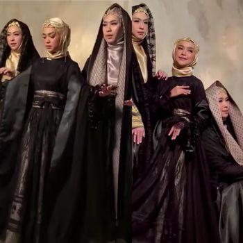 Gaya hijab Ria Ricis jadi sorotan diantara sang kakak Oki dan Shindy.