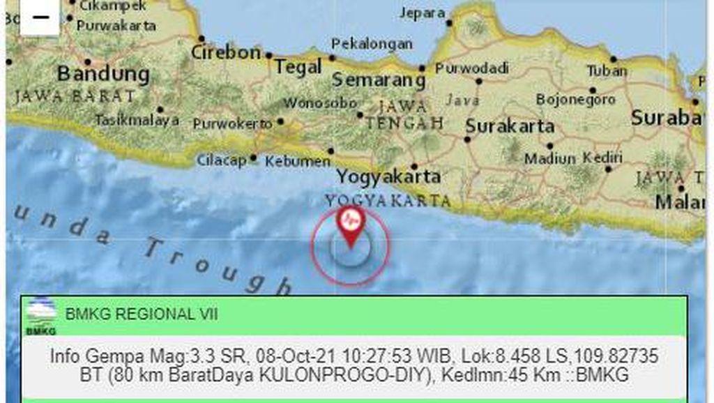 Gempa M 3,3 Guncang Perairan Kulon Progo