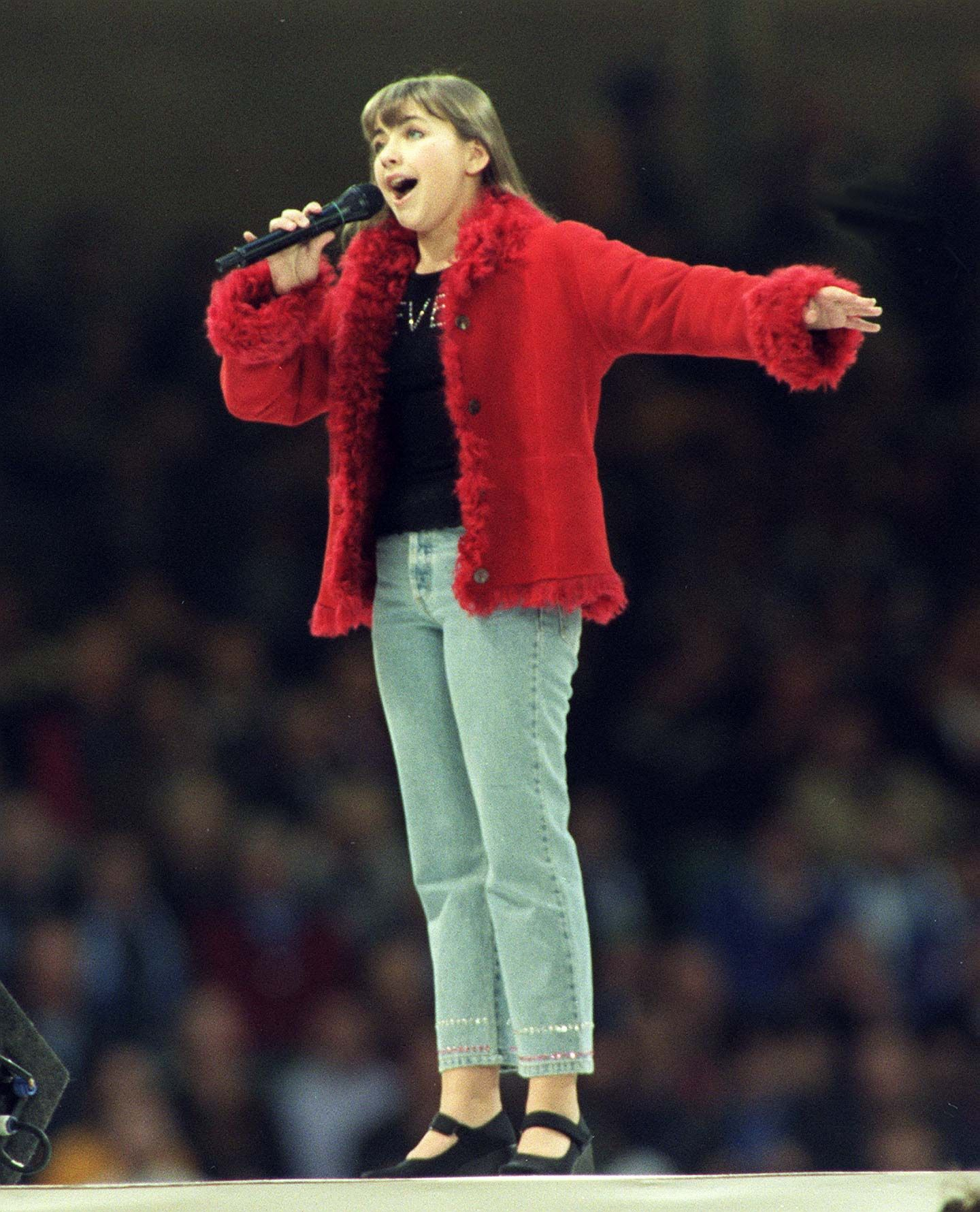 WALES, UNITED KINGDOM - NOVEMBER 06:  Charlotte Church singing at the closing ceremony for the 1999 Rugby World Cup, Millennium Stadium, Cardiff, Saturday.  (Photo by Ross Setford/Getty Images)