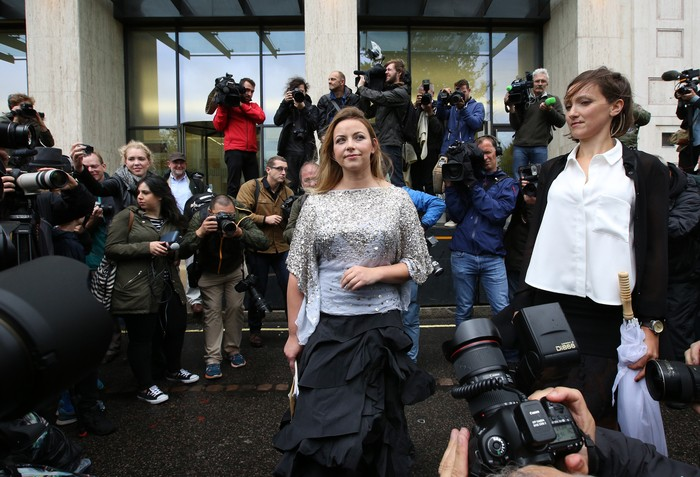LONDON, ENGLAND - AUGUST 26:  Singer Charlotte Church (C) takes part in a Greenpeace protest outside the Shell building on August 26, 2015 in London, England. Greenpeace have been protesting against arctic drilling with an orchestra for some time outside the London headquarters of oil giant Shell.  (Photo by Peter Macdiarmid/Getty Images)