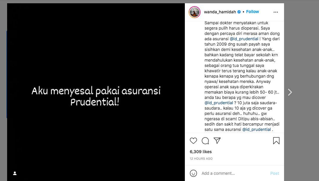 Instagram @wanda_hamidah, diakses 11 Oktober 2021, 08.00 WIB