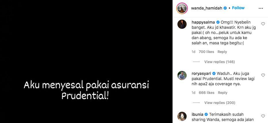 Instagram @wanda_hamidah, diakses 12 Oktober 2021 pukul 13.47 WIB