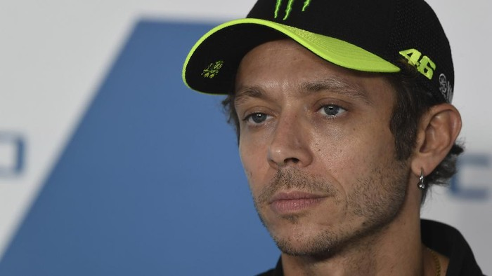 MISANO ADRIATICO, ITALY - SEPTEMBER 16:  Valentino Rossi of Italy and Petronas Yamaha SRT looks on during the press conference pre-event during the MotoGP Of San Marino - Previews at Misano World Circuit on September 16, 2021 in Misano Adriatico, Italy. (Photo by Mirco Lazzari gp/Getty Images)