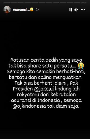 Instagram @wanda_hamidah, soal Jokowi dan OJK