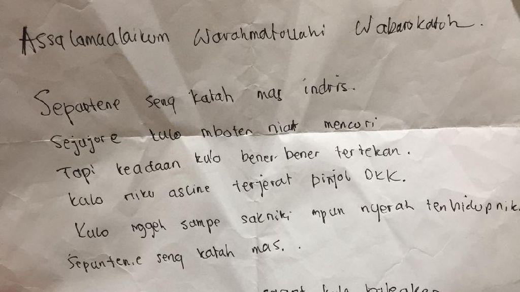 Penampakan Surat Ditulis Maling di Sidoarjo yang Kembalikan Barang Hasil Curian