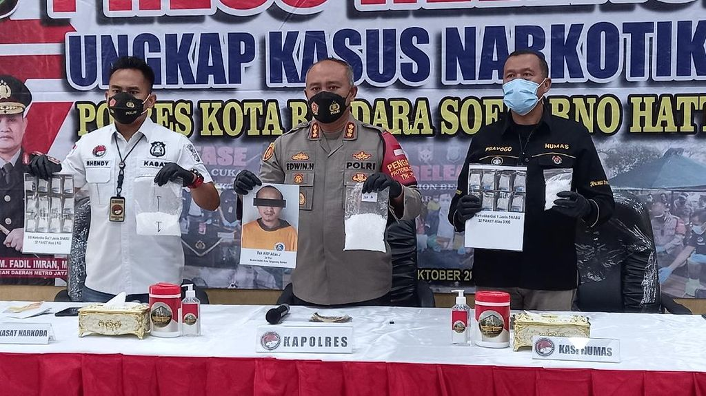 Polres Bandara Soetta Gagalkan Penyelundupan 3,2 Kg Sabu ke Mandalika NTB