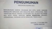 DAMRI Bandung Berhenti Beroperasi Mulai Besok!