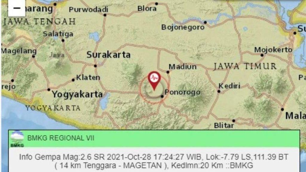 Gempa Darat M 2,6 Guncang Magetan-Ponorogo
