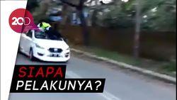 Video Polisi Nyangkut di Atap Mobil Usai Ditabrak
