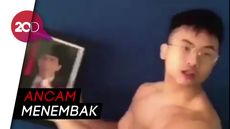 Pria Bertelanjang Dada Ancam Presiden Jokowi