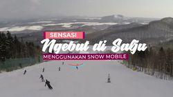 Sensasi Ngebut Di Salju Menggunakan Snow Mobile