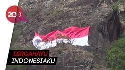 Sambut HUT Ke-73 RI, Merah Putih Berkibar di Tebing Tertinggi Jatim