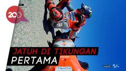 Detik-detik Lorenzo Terpental dan Mencium Aspal di GP Aragon