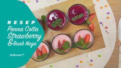 Resep Panna Cotta Strawberry dan Buah Naga