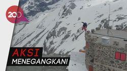 Menuruni Gunung Tertinggi di Italia dengan Papan Ski