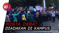 Jelang Debat Pilpres, BEM SI Gelar Aksi di Depan Bidakara