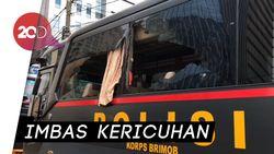 Penampakan Mobil Polisi yang Dirusak Massa di Flyover Slipi