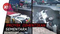 2 Mobil Terguling dan Nyemplung ke Galian Proyek Underpass di Yogya
