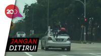 Ngeri! 2 Bocah bak Superman di Atas Mobil yang Melaju Kencang