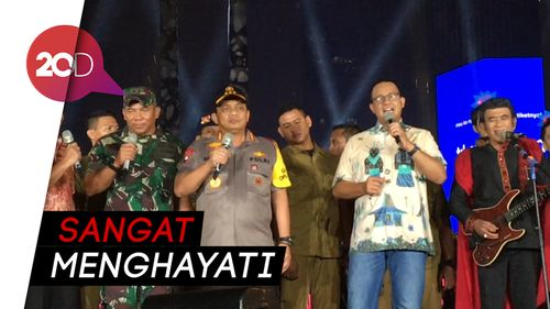 Aksi Anies-Kapolda-Pangdam Jaya Nyanyi Bareng di HI