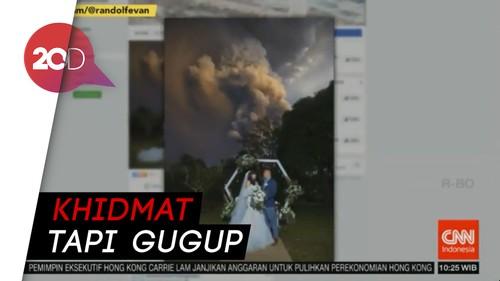 Nekat! Momen Dramatis Pasangan Menikah Dekat Gunung Meletus
