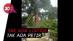 Bikin Heboh! Pohon Terbakar Misterius di Makam Pemalang