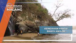 Pantai Banyu Anjlok, Air Terjun Tepi Laut Desa Purwodadi Tirtoyudo Malang