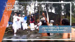 Pengambilan Botol Air Suci Mulang Pakelem dari Dalam Danau Segara Anak Lombok