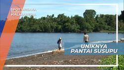 Pantai Susupu Halmahera, Berpasir Hitam Hasil Letusan Gunung